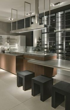 Commercial like interior design kitchen room metal silver grey Ernesto Meda & Giuseppe