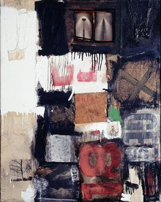 Robert Rauschenberg - 1959, Migration. Combine: oil, paper, printed paper, printed reproductions, photographs, fabric and wood on canvas (127 x 101.6 cm) Herbert F. Johnson Museum of Art