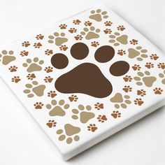 Set of 4 paw print square coasters. Our sandstone coaster absorb liquids naturally until it evaporates. Sandstone Coasters, Coaster Set, Coasters