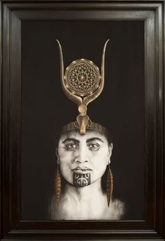 Queen of Raa Maori woman portrait painting with moko kauae and Egyptian crown by Sofia Minson Female Portrait, Portrait Art, Female Art, Woman Portrait, Pencil Portrait, Portraits, Maori Tattoo Meanings, Zealand Tattoo, Polynesian Art