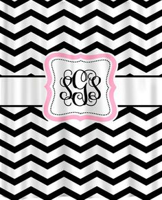 Personalized Shower Curtain  Black & White Chevron by redbeauty, $78.00