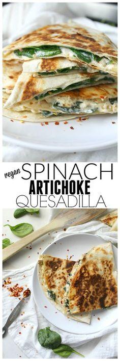 Vegan Spinach Artichoke Quesadilla