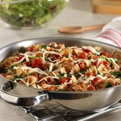 Heart healthy dish~Pasta, sausage, tomatoes and spinach cooked together for a quick and easy meal.  I'll substitute with whole wheat pasta.  Who would not like this?