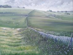 """""""Dry stone walls on the Weaver hills"""" Original painting by K Seaton"""