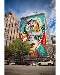 """An amazing collaboration between Shepard Fairey and Sandra Chevrier on the mural titled """"The Beauty of Liberty and Equality,"""" Murals Street Art, Street Art Graffiti, Mural Art, Wall Murals, Shepard Fairy, Sandra Chevrier, Austin Murals, Lion, Los Angeles Travel"""