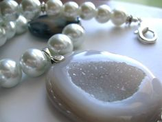 Moon Shine ... window druzy natural agate geode pearl by ageratum, $37.00