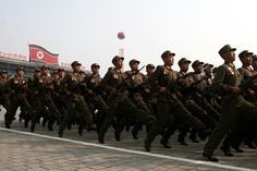 Enlisted infantrymen of the Korean People's Army marching through Kim Il-Sung Square in Pyongyang at the 2010 Party Foundation Day Parade.
