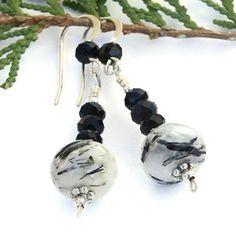 Clear Quartz Amethyst Handmade Gemstone Earrings OOAK Beaded Jewelry | ShadowDogDesigns - Jewelry on ArtFire