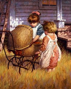 Are We Starving The Hearts Of Our Children?, little girls with baby stroller, wicker doll carriage, Jim Daly, painting, a child's life, Play...