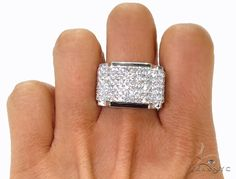 Prong Diamond Ring 39457 Mens Diamond Ring White Gold 14k Round Cut 3.00 ct - TraxNYC.com