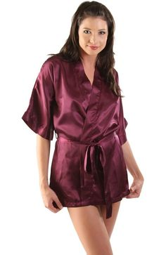 Del Rossa Women's Short Classic Satin Lounge Robe at Amazon Women's Clothing store: Silk Robes For Women