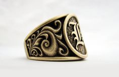 Handmade mens ring. Alternative Jewelry. Gents 14k yellow gold, oxidized signet ring.  Custom made with any initial.