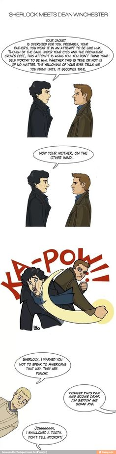 superwholock I like this except that Dean is actually taller than Sherlock...