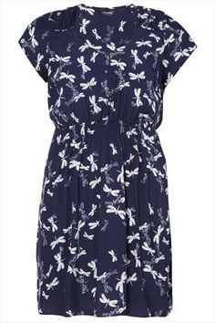 Navy Tunic Dress With Dragonfly Print And Gold Buttons