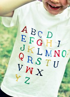 Alphabet T-Shirt. I have always wanted to do this for my students.  Sounds soo easy!