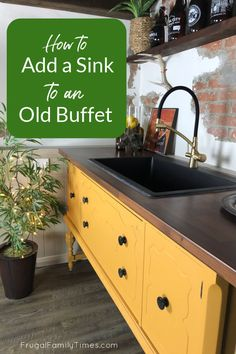 Our DIY custom wet bar is functional, fun and fiscally smart! We show you how to add a sink to a buffet (or sideboard) to create a unique wet bar for our basement. This upcycled project is way more beautiful than big box cupboards PLUS it was a budget project - it cost hundreds of dollars less. Diy Furniture Building, Diy Furniture Projects, Diy Wood Projects, Ikea Kitchen Design, Diy Kitchen, Kitchen Decor, Decor Crafts, Diy Home Decor, Diy Crafts