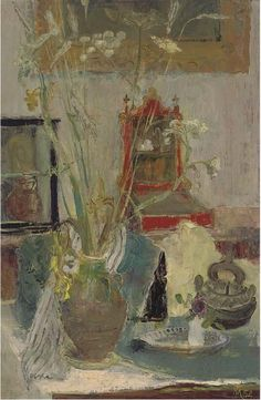 Through the Looking Glass signed with monogram and dated '52' (lower right) oil on canvas 36 x 24 in. (91.5 x 61 cm.) Margaret Thomas (b. 1916)