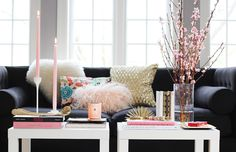 How to Style a Coffee Table: feminine elegance