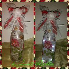 Flaschenlampe zur Rosenhochzeit