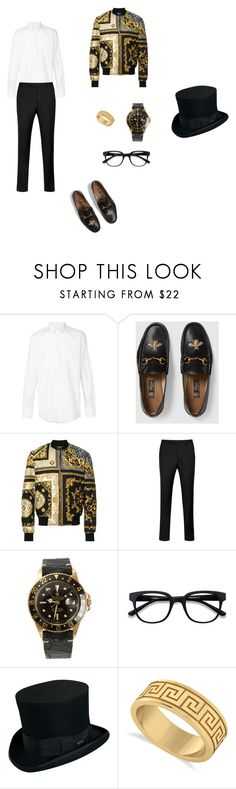 """""""Man outfit"""" by kyrasloff ❤ liked on Polyvore featuring Dolce&Gabbana, Gucci, Versace, Ted Baker, Rolex, EyeBuyDirect.com, Scala, Allurez, men's fashion and menswear"""