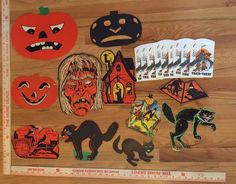 Vintage Halloween Die Cuts Crepe Paper Table Clothes Paper Mask Lantern Cats | eBay