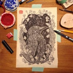 Illustrated a crow, prints of it for sale at www.deblauwebeer.bigcartel.com  More to see at www.anjamulder.com #crow #anjamulder #illustration  #nature  #groningen