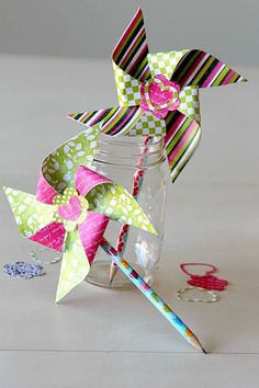 "DIY Pencil Topper Pinwheels, add a ""You Blow me Away"" note and it becomes a great no candy valentine handout!"