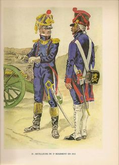 French Foot ArtilleryOfficer and Gunner of 2nd Artillery Regiment Ufficiale e cannoniere del 2 rgt. artiglieria svizzera