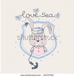 hand drawn vector illustration of rabbit sailor