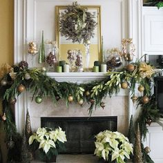 fireplace christmas decorating ideas | Hope you find out which one suits your fireplace mantels. check this ...