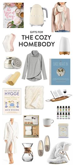 Great gifting ideas for the friend who loves to cozy up at home during the holidays, including everything from cookbooks to a kettle to a scarf, candle, blankets, bath caddy, essential oils diffuser, coffee maker, slippers, chunky blanket, soft throw, hot tea, robe, weaving kit, Turkish bath towel, socks, mug, slippers and more. | The Cozy Homebody Gift Guide | Gimme Some Oven Holidays 2017