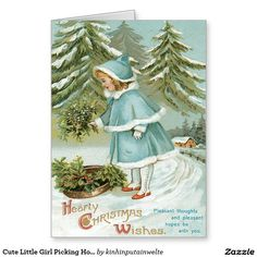 Cute Little Girl Picking Holly Snow Greeting Card