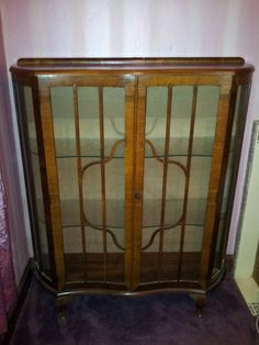 Art deco style 1930s china display cabinet