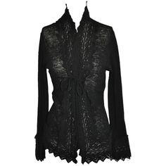 Jean Paul Gaultier Gentle Black Wool With Detailed Bell Sleeves Sweater 1990
