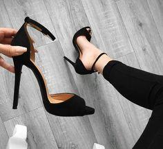 - Simple Peep Toe Pumps with Black Heels - AdoreWe . Black Pumps Heels, Black Sandals, Stiletto Heels, Shoes Heels, Women's Sandals, Sexy Heels, Suede Pumps, Cute Shoes, Me Too Shoes