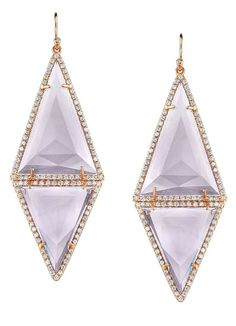 Irene Neuwirth 18k rose gold, pave diamond, and amethyst earrings