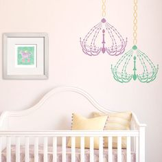 Decorate your baby nursery with Royal Design Studio stencils - Chandelier wall art for baby room decor