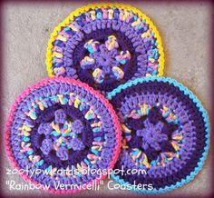 Rainbow Vermicelli Coasters:   Pattern