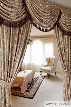 Fleurs Rococo - Classic Overlapping Style Silky embroidery swag valance curtain set http://www.celuce.com/p/49/fleurs-rococo-swag-valances-curtain-drapes