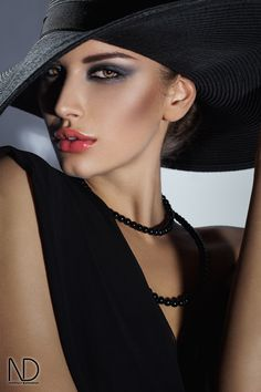 Portrait - Fashion - Black - Hat - Photography - Red Lips