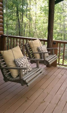 Individual Porch Swings! Perfect for the cabin porch.