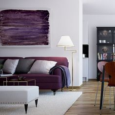 Purple Sofa Furniture for Living Room of Scandinavian Interior Style. Love the shape of the sofa Home Interior, Interior Styling, Interior Design, Purple Interior, Purple Furniture, Sofa Furniture, Living Room Furniture, Living Room Decor, Bedroom Ideas