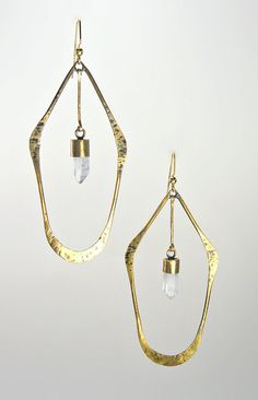 Forged Brass Hoop Earings with Raw Quartz Crystals by PreyJewelry