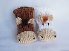 Children horse slippers  knit fun slippers by LittleHandmadeWonder