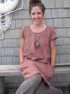 Heather Cap Sleeve Smock 100 Hemp Linen by consciousclothing