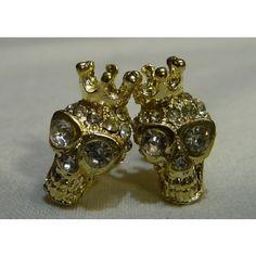 Brinco Caveira dourada com coroa strass olho