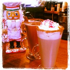 This #December try our #cookingnutcracker approved feature specialty #coffee: Naughty Noel! Named after our beloved pastry chef who concocted this tasty bevvy. The #NaughtyNoel has premium #PinkyVodka, homemade spicy hot cocoa, cinnamon and sugar rim, garnished with whipped cream and crushed #candycanes!