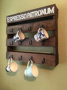 Espresso Patronum! Measures 23in wide 20in long and 4in deep. Decorative wall hanging used for drinking mugs.