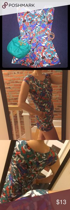 Fun, colorful romper Playful and sexy, perfect for a pool party. Front pockets and buttons up the back. Full coverage up top. Its a little too short for me but I'm 5'8.  Never worn. Katie K Pants Jumpsuits & Rompers