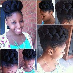 Charming #updo #naturalhairstyle  For origin see Neno Natural Pinterest  http://www.nenonatural.com/freeinfo.html  #naturalhair #curlyhair #kinkyhair #nenonatural #vlogger #blogger #hairblogger
